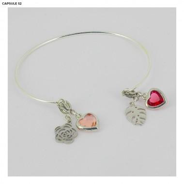 Charms Cœur Facettes Rose...