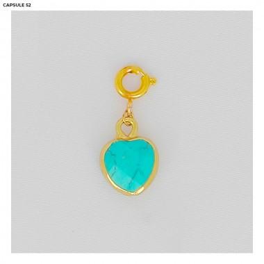 Charms Coeur Turquoise Doré