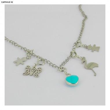 Charms Cœur Turquoise Argenté
