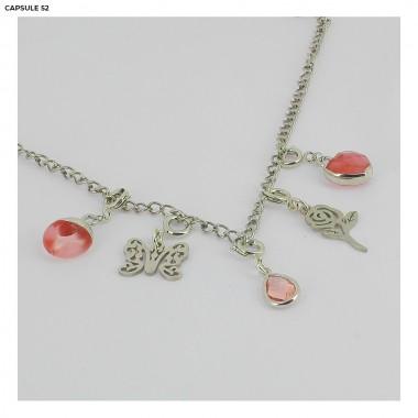 Charms Cœur Rose Argenté