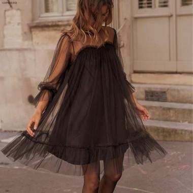 Robe Noire en Tulle à Volants