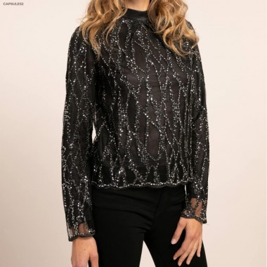 Top Noirs Sequins Brodés