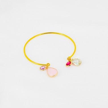 Bracelet ajustable - Poire Crystal et Rose - Acier Inox Doré