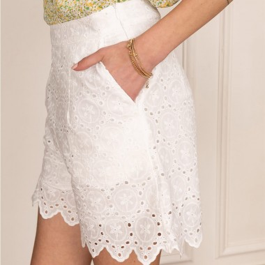 Short Blanc Taille Basse -...