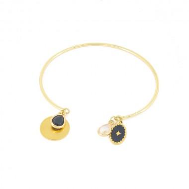 Bracelet Talisman Noir Doré