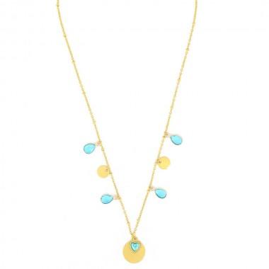 Collier Océan Coeur Turquoise