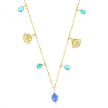 Collier Eventail Bleu Doré