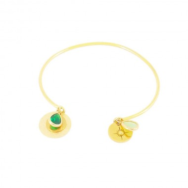 Bracelet Gaïa Vert Doré